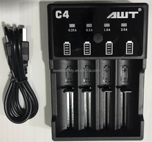 2017 AWT C4 USB charger 4 slot awt battery charger 18650 for awt 18650 battery egypt vape battery 12v 100 ah esse cigarettes