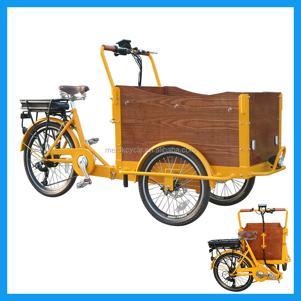 Heavy Duty Three Wheeler Cargo Bicycle With Front Loading Basket