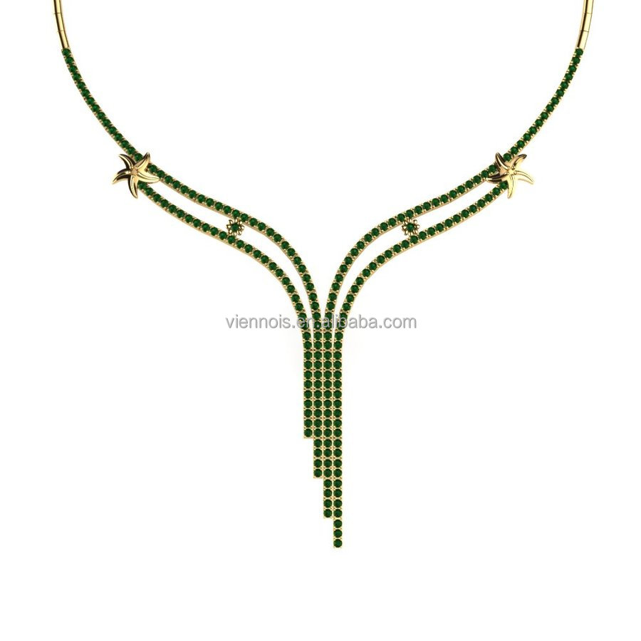 925 Sterling Silver Necklace Beautiful Jewelry Necklace 18K Gold Plated Necklace Jewelries With Fern Green Zircon