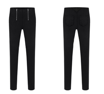 New winter double zipper leggings stretch women pants