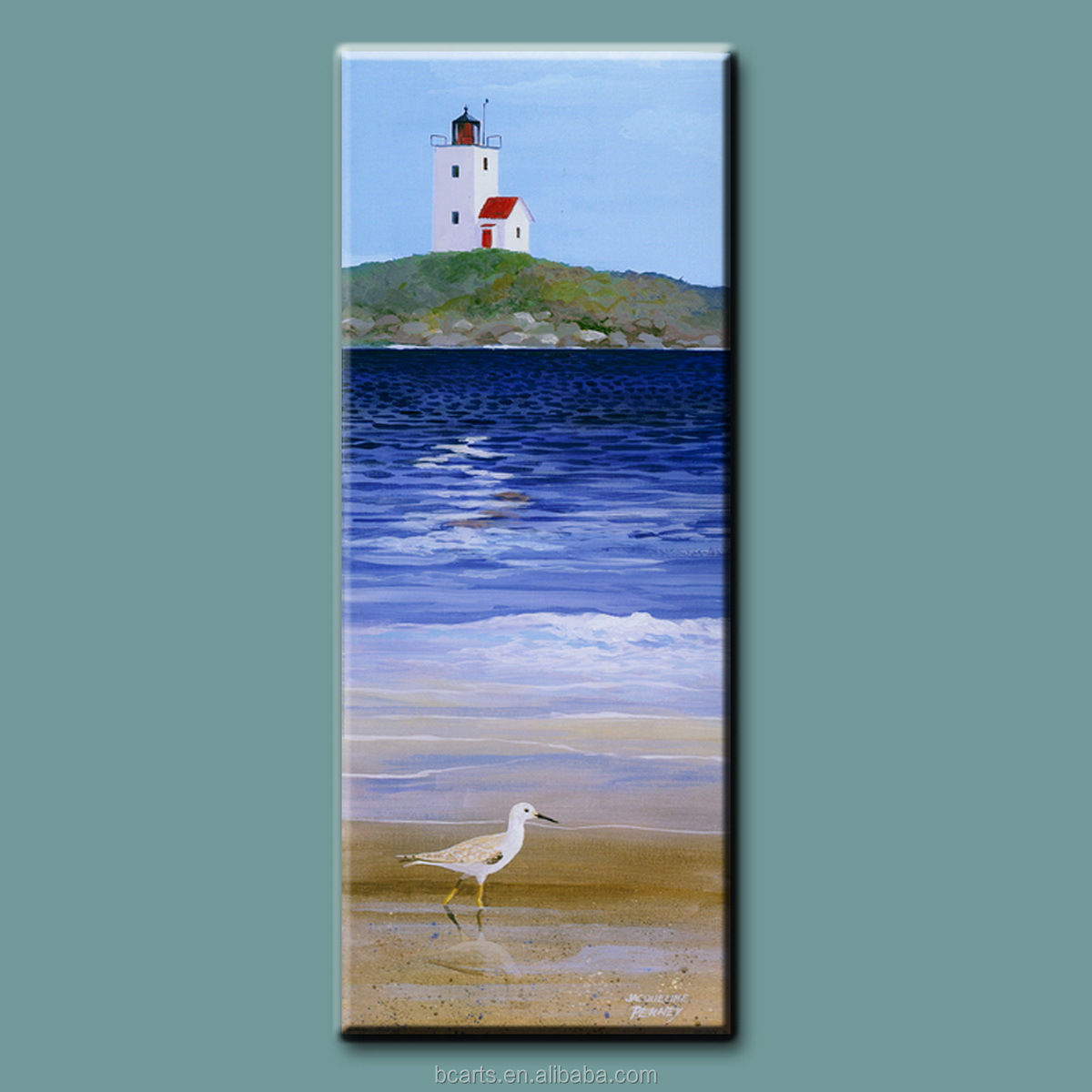 Original bird and sea simple canvas print wall art seascape scenery oil painting