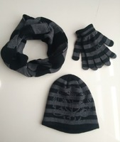 OEM Acrylic Knitted Scarf Hat and Glove Sets for Men