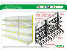 shallow wall bay supermarket display rack