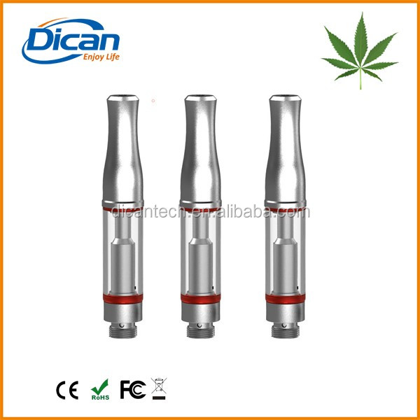 Quality glass cbd cartridge metal tip vape 0.5ml oil atomizer 1.2mm oil hole for thick oil