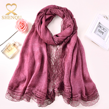New 2017 fashion lady long solid color lace hijab polyester muslim head scarves shawl lace hijab scarf