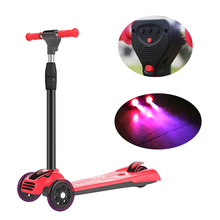 New premium PU three wheels folding electric scooter kids kick scooter
