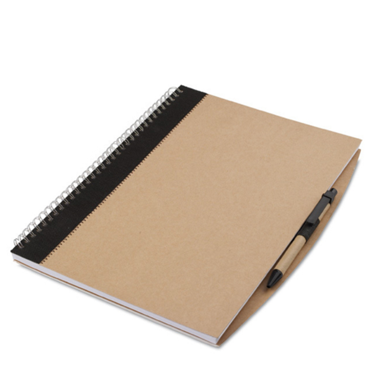 Custom recycled detachable paper A5 spiral notebook with pen