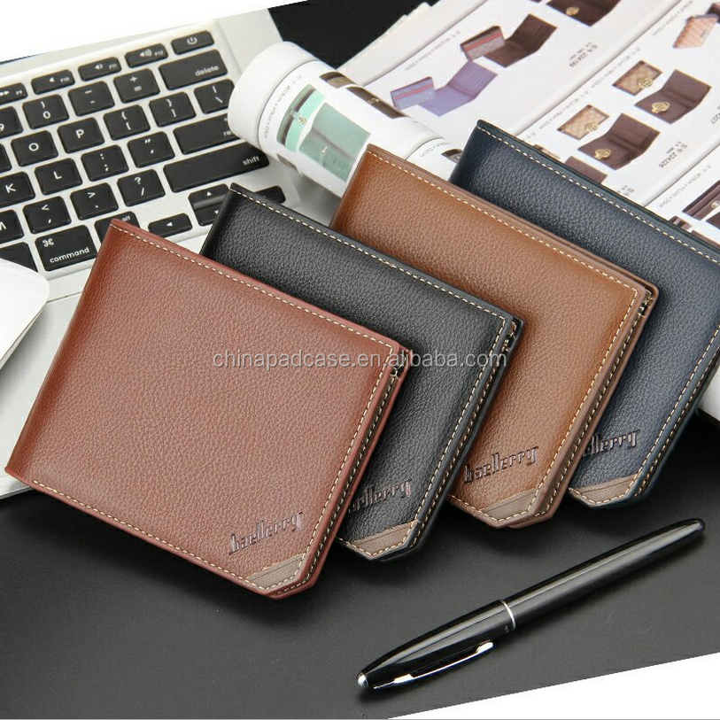 Factory Original Baellerry Mens leather Fashion Mens wallet /Luxury Student Travel purse RFID wallets Purse