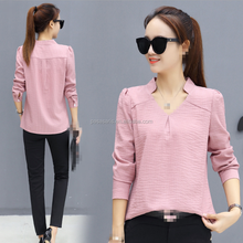 AL5129W New women blouse spring work wear lady office shirts v-neck tops chinese clothing manufacturers