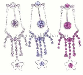 top down chandelier star belly rings body piercing