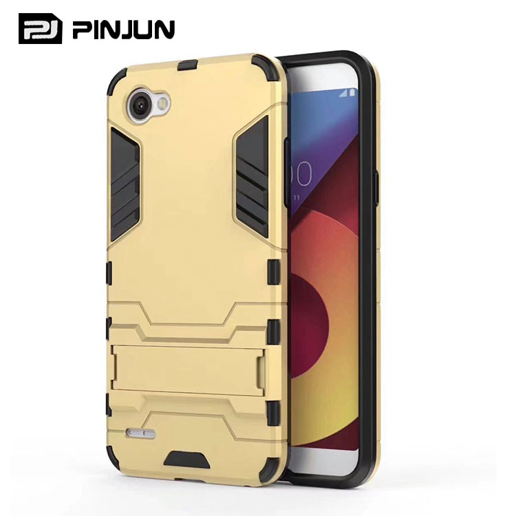 low price 2 in 1 Iron man armor hybrid kickstand phone case for lg q6 back cover
