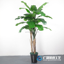 Wholesale 1.8m artificial banana trees plastic trunk PE leaf