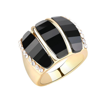 Fashion three rows resin acrylic ring wholesale gold plated wedding ring for women jewelry