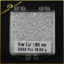 hot sale cubic zirconia micro paved jewelry aaa 1.8mm star cut cz gem stone