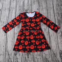 2016 yawoo girls halloween pumpkin print smocked dress long sleeve tunic fall design children boutique dress