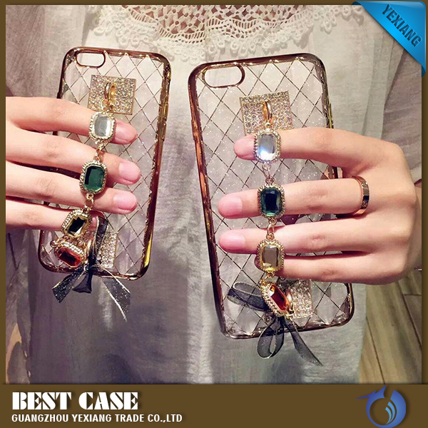 For iPhone 5 5s Fashion Chain Bracelet Luxury Diamond Gem Transparent TPU Plating Case 24k gold plating back cover