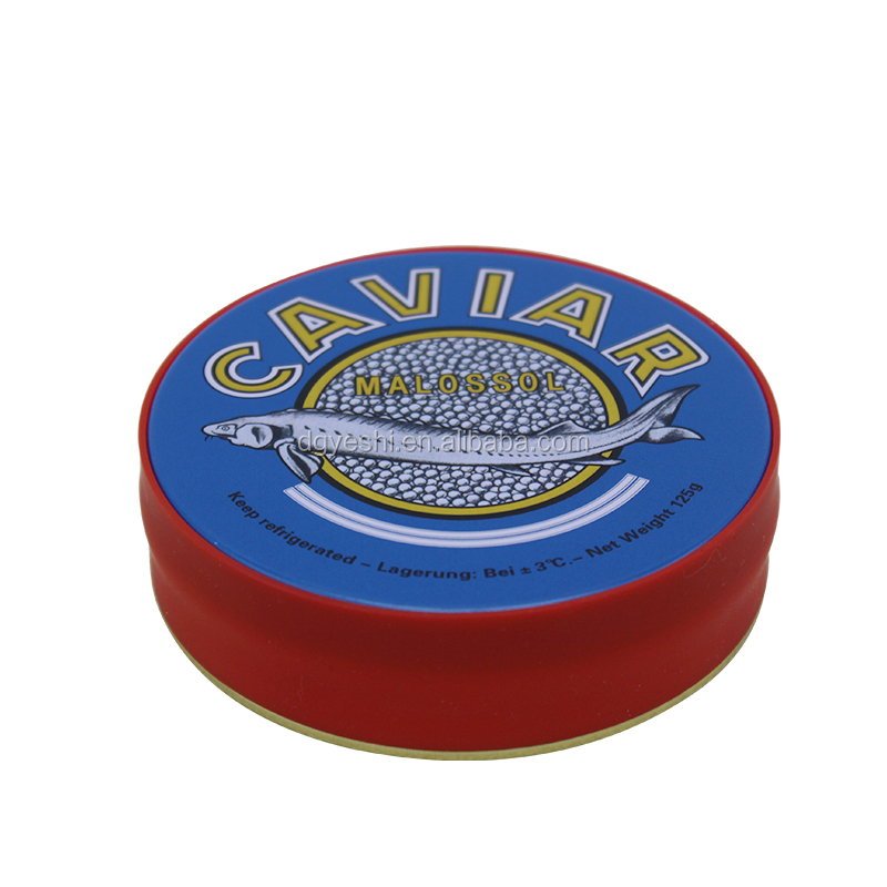250g Caviar Tin Can With Rubber, Round Metal Tin Box, Tin Can Cake Boxes