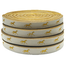 Hight quality metallic custom woven horse design gifts ribbon