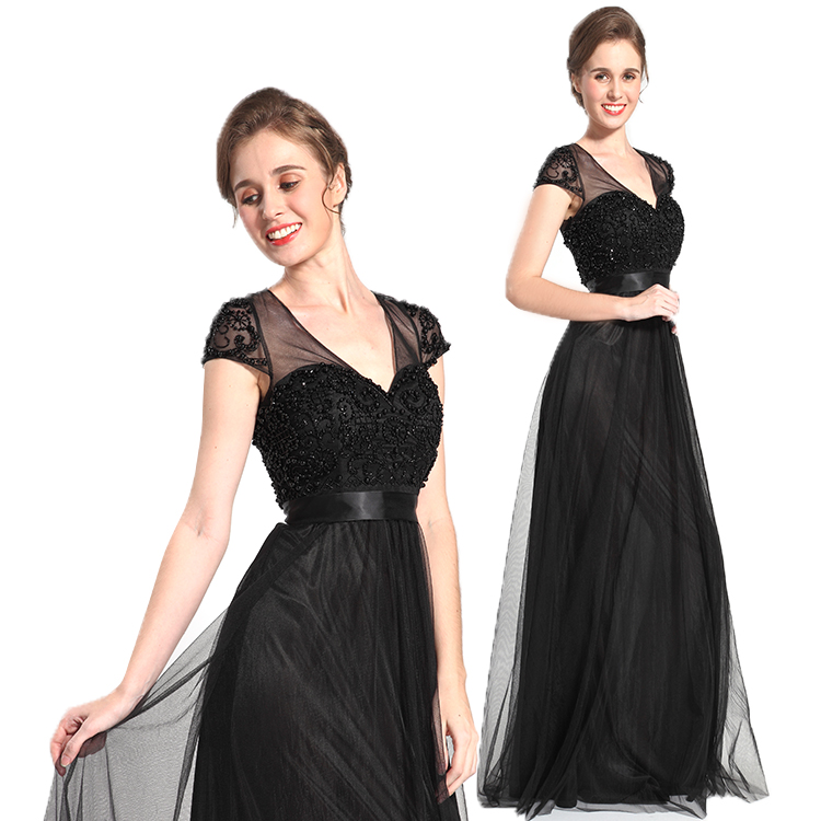 High end customize floor grazing cap sleeve beaded slim lady evening dress