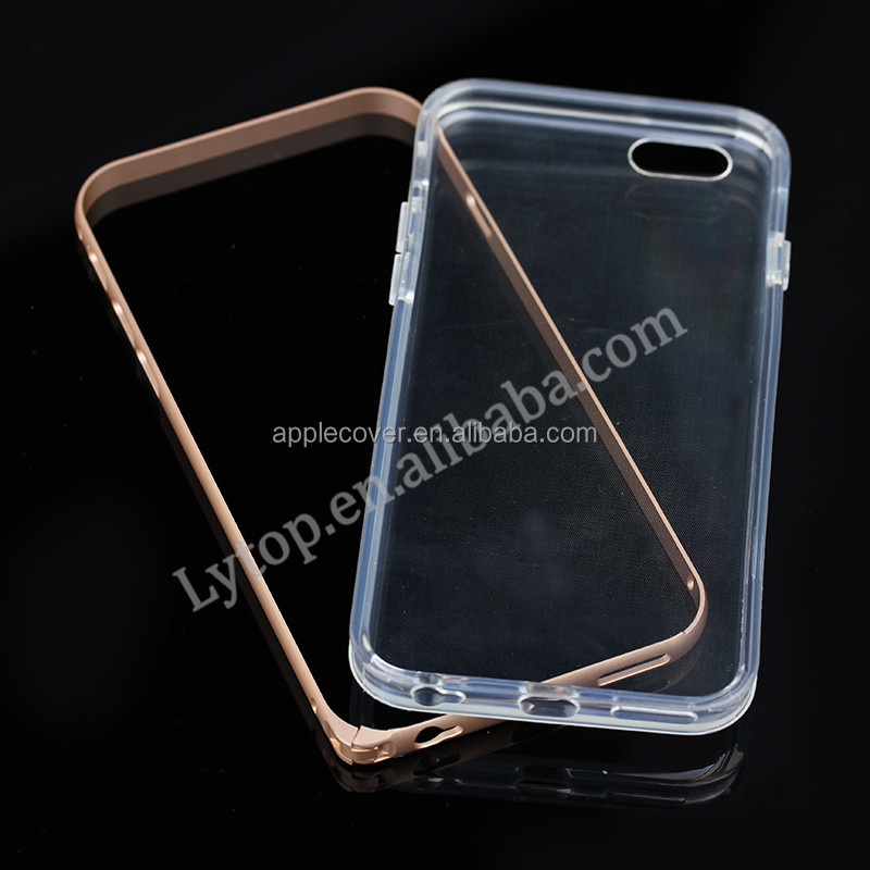 aluminum metal bumper for apple iphone 6 with TPU backside