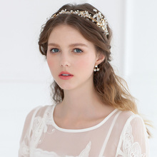 High Quality Gold Flexible Headband Crystal Rhinestone Floral Hairband Hand Beaded Wedding Bridal <strong>Hair</strong> <strong>Accessories</strong>