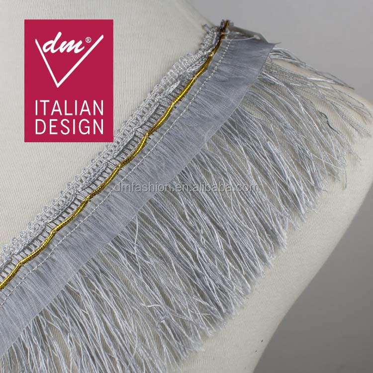 Wholesale 10cm width silver gray long tassel fringe trimming for clothes