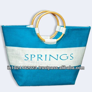 Supersized Jute Tote BagReusable foldable shopping bag Natural Jute Bags with Blue StripeBurlap or Jute Tote Bags