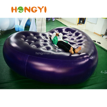 2.5m Inflatable heart shape sofa Inflatable single recliner mattress can print LOGO
