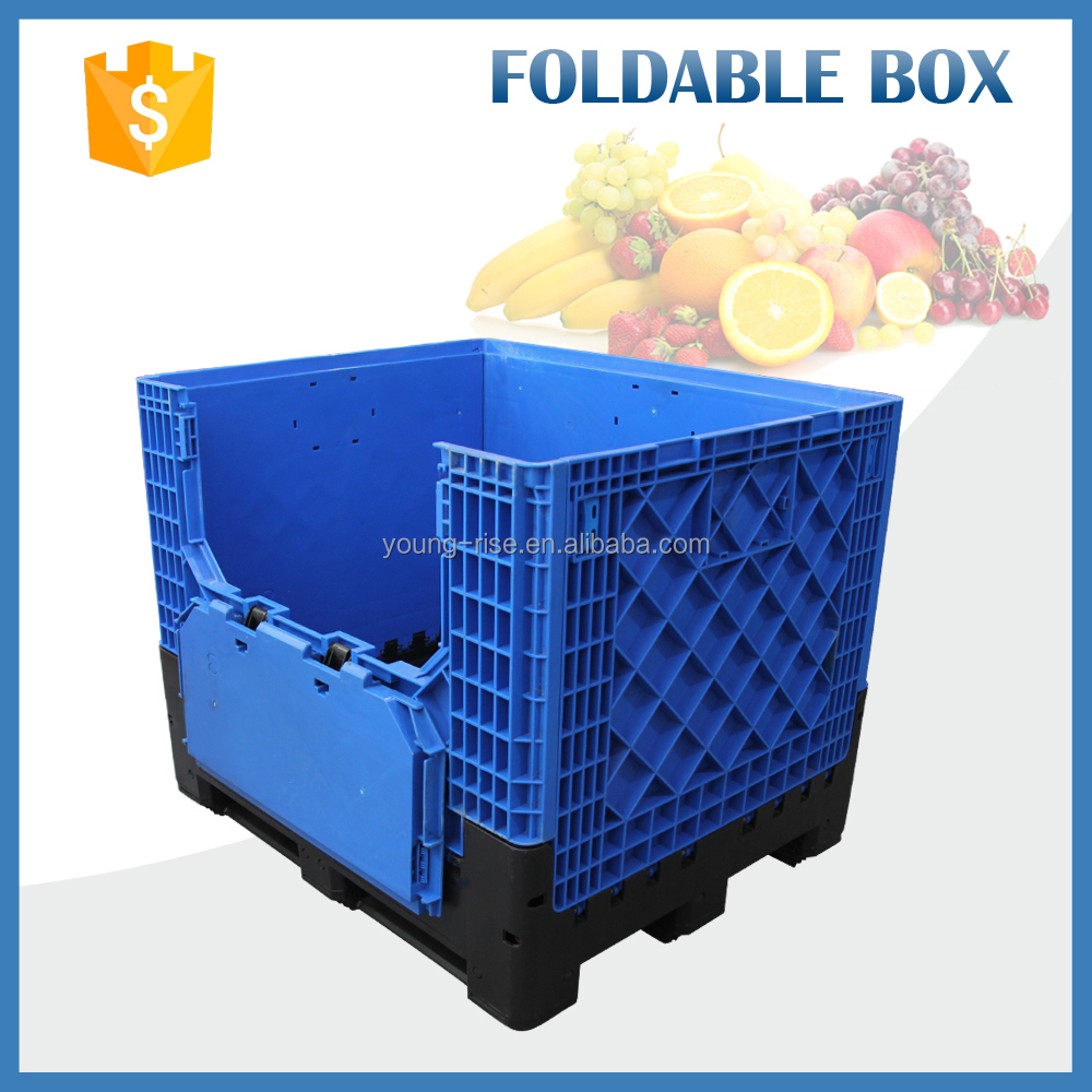 HDPE heavy duty plastic pallet container, foldable fruit storage bins,large plastic crates for sale