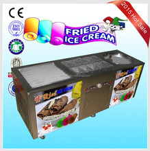 2015 Super market fried ice cream machine double pan CB2+10S with cooling fast
