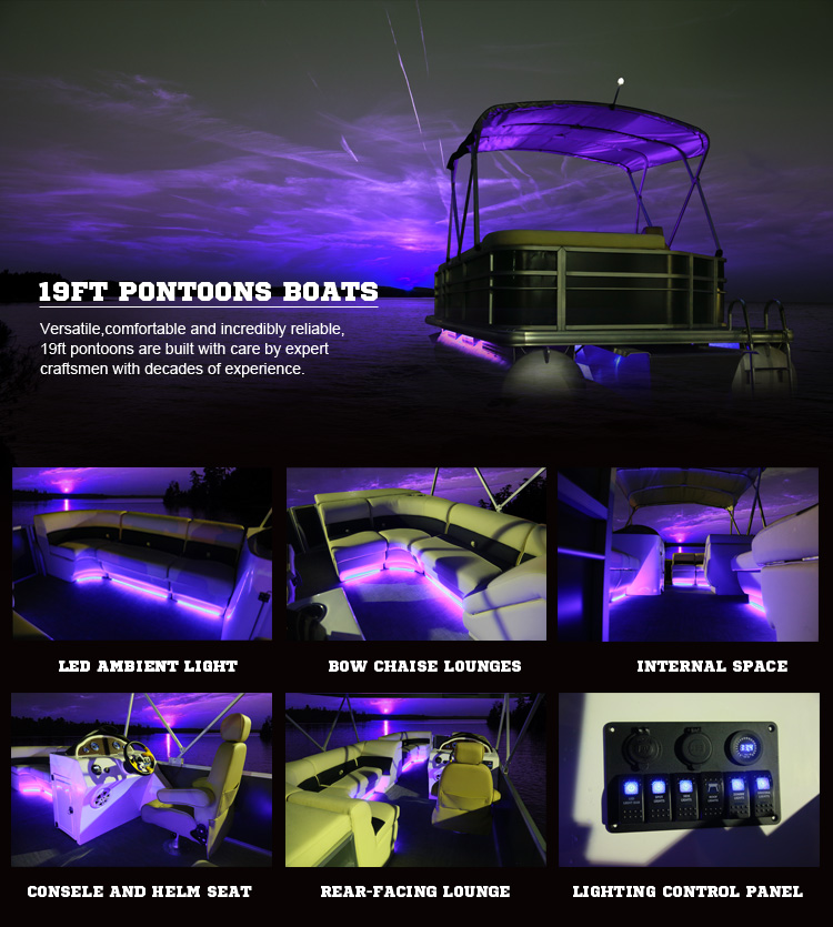 19FT Luxury Aluminum Pontoon Boats for Party, Fishing, Sport
