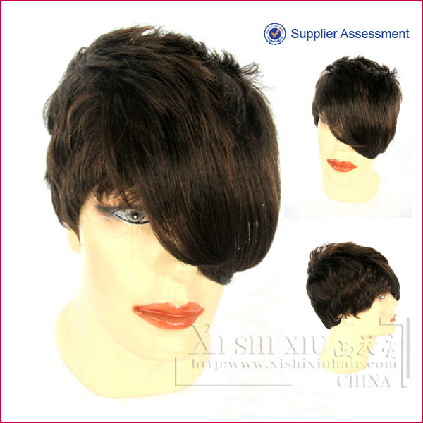 Factory price wholesale cool brown color short silicone wigs