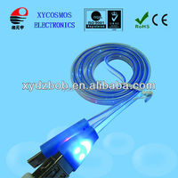 Smile face Led light micro USB data & Sync cable for mobile phone USB cable