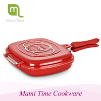 Die casting aluminum cast iron grill pan with folding handle