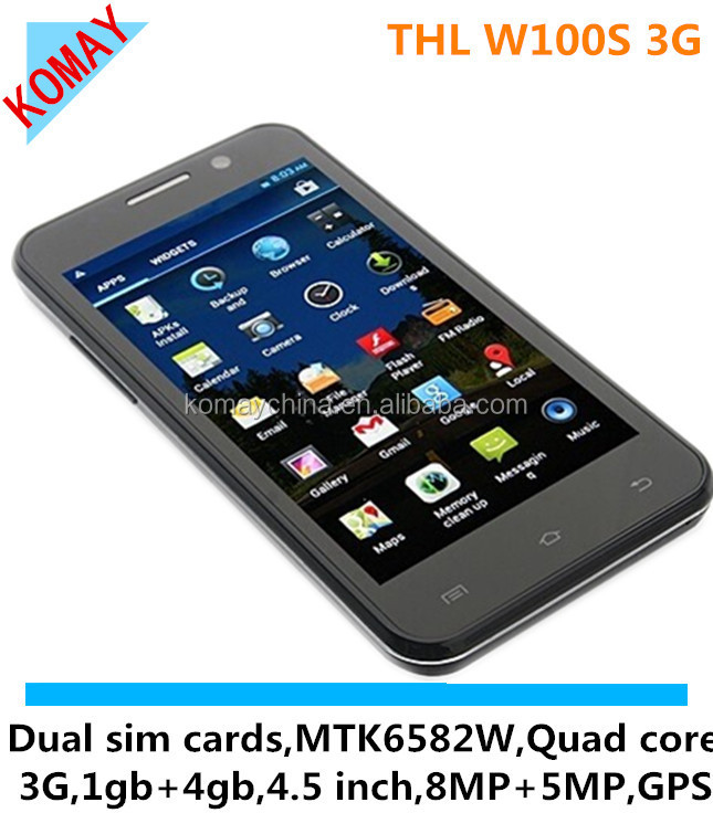 KOMAY 2014 THL W100s phone MTK6582M Quad Core 4.5 inch HD Screen Android 4.2 2 Cameras 8.0MP