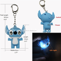 Custom made 2.17 inch 3D stitch cartoon portable pocket led light keychain key chain hook pendant