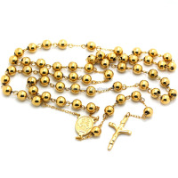 High Quality Stainless Steel 18K Gold Plated Religious 8MM Rosary Beads Prayer Chains Necklace With Crucifix Jesus Cross Pendant
