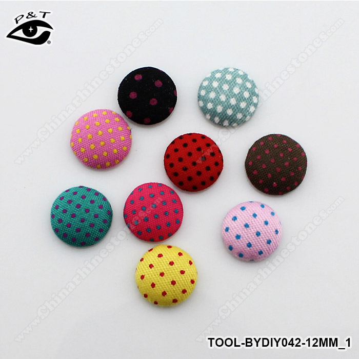 12MM Polka Dot Printing Round Button Scrapbooking DIY Mix Flat Back Fabric Covered Buttons