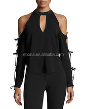 Black Cold Shoulder Collar High Neckline Cutout Blouse Long Sleeve Style Slim Top Blouses