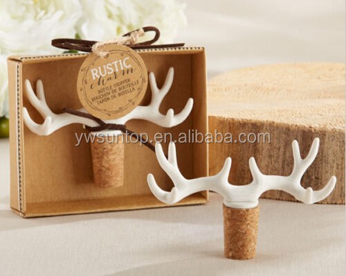 Just Arrival Antler Bottle Stopper Forest Woodland Hunting Wedding Gifts