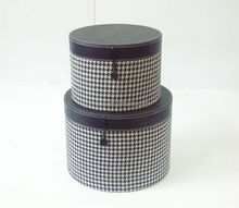 Decorative set of 2 tooth pattern fabric round storage box with leather covers