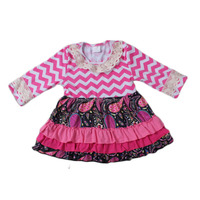 new style kids cotton dress pink chevron sleeve lace ruffles long sleeve baby girls dresses