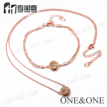 Rose Gold Natural Drusy Bracelet And Necklace Wholesale Jewelry set
