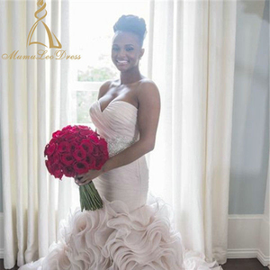 African Mermaid Sext Nude Crystal Diamond Bead Beaded 3d Floral Champagne Wedding  Dress Ruffled Wedding Gown 933375b998f4