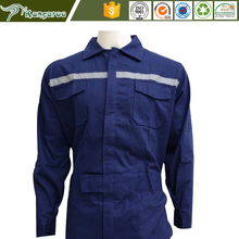 65%Cotton & Polyester 220gsm Custom Coverall Technician Industrial Overall Safety Workwear Uniform with Reflective Stripes