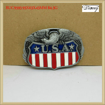 BUC9593 customize belt buckles, custom eagle with USA flag belt buckle