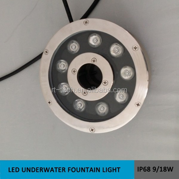 outdoor underwater light IP68 garden led fountain pond lights 9w 12w 18w
