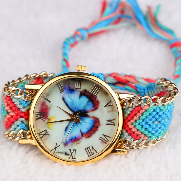 Lady's gift ribbon DIY watch interchangeable straps lady weave band wrist watches for women