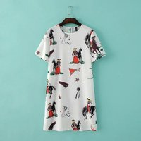 Long T-shirt dress fashion printing women short sleeve round neck pullover full-size ladies casual dresses pictures
