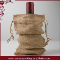 Newest drawstring jute wine bottle glass bag wholesale